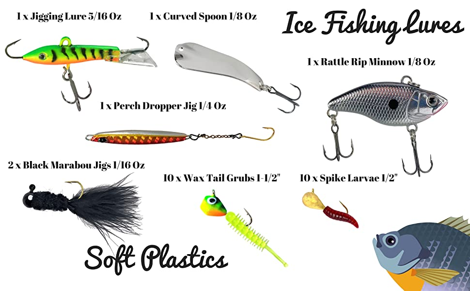 ice fishing lures soft plastics walleye perch bluegill crappie trout tailored tackle