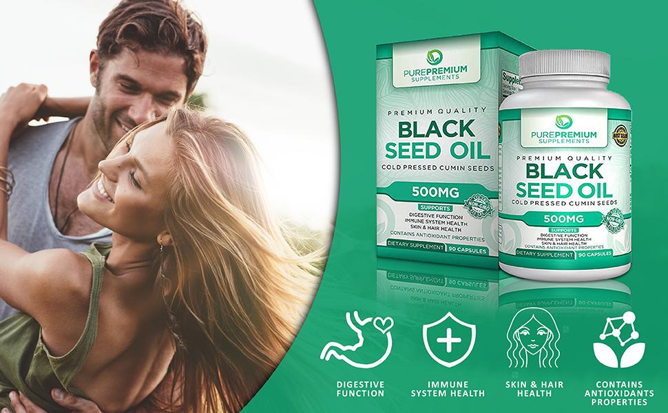 Black seed oil capsules digestion immune system skin hair