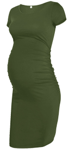 Maternity Short Sleeve Ruched Dress
