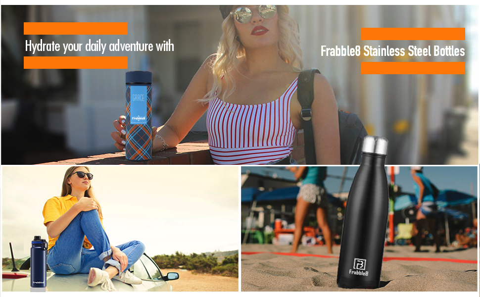 frabble8 frabble brave stainless steel water bottle flask thermos tumbler hot and cold mug cup