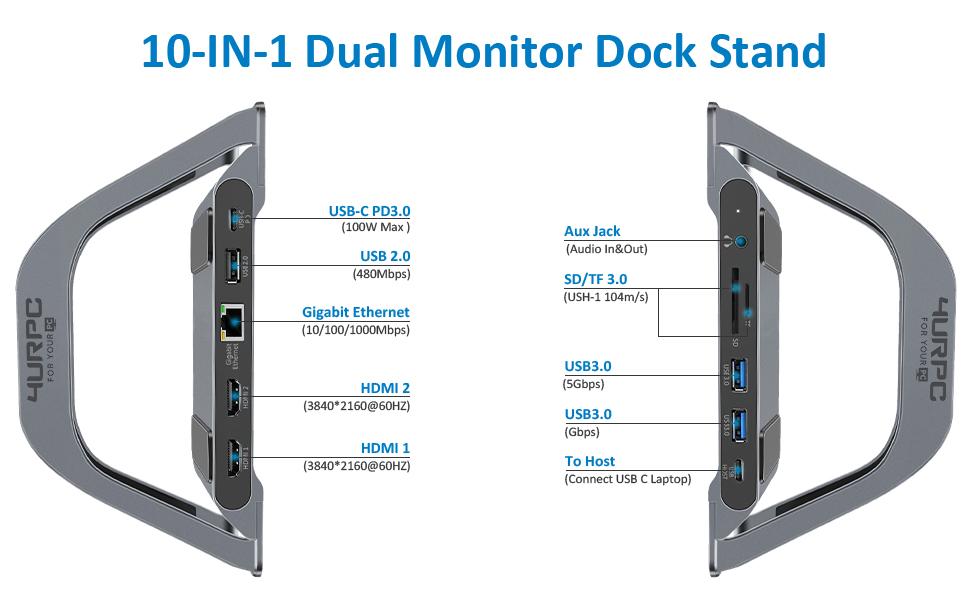 Type c dual monitor dock laptop dock for laptop monitor type c dock monitor dock for laptop c-dock