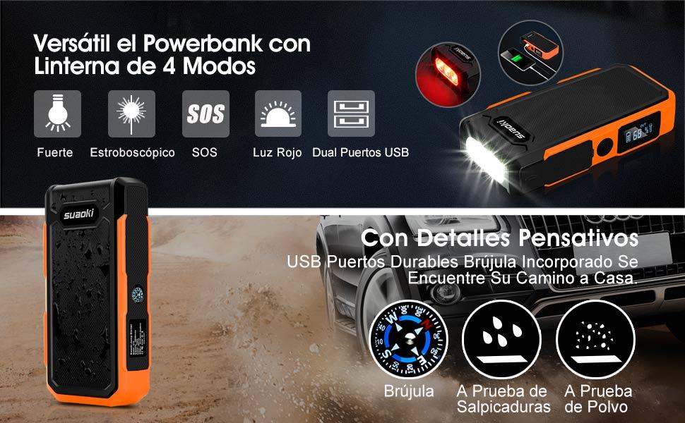 Suaoki U10 - Jump Starter de 20000mAh, 800A Batería Arrancador de Coche (Batería Externa Recargable, LED Flashlight, Multifunción, Con pinzas ...