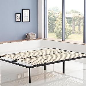 KOSMI - Somier de láminas 160x190 cm con patas para cama doble