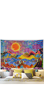 Trippy Mountain Sun Tapestry