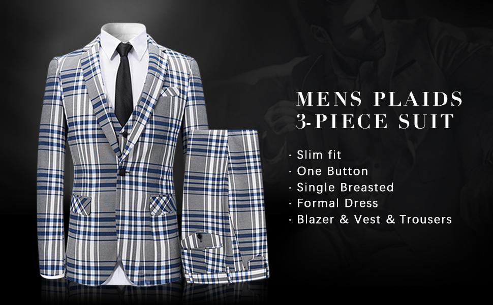 mens slim fit suits one button plaid style 3 piece suits set suit jacket vest trousers