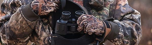 binocular harness, binocular harness hunting, binopack, binocular case chest harness