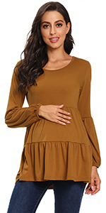Maternity Tops Long Sleeve Round Neck Tunic Top