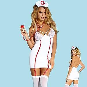 Details about  /Sexy Zipper Babydoll Lingerie Set Nurse Uniform Outfit Costume for Women White