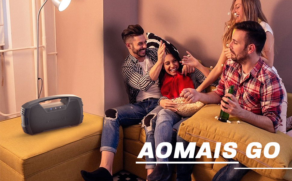 AOMAIS GO  AOMAIS GO Bluetooth Speakers, 40H Playtime Outdoor Portable Speaker, 40W Stereo Sound Rich Bass, IPX7 Waterproof Bluetooth 5.0 Wireless Pairing,10000mAh Power Bank, for Party, Travel(2020 Upgrade) 06a11f71 7af0 430f b433 ec525ec1c055