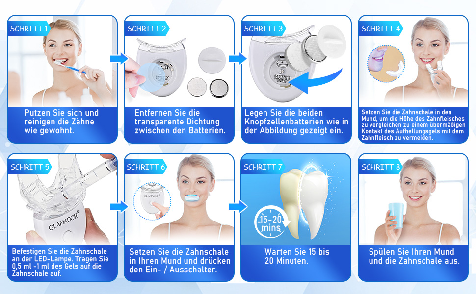 Verwendungsweise: Zahnaufhellung-Set