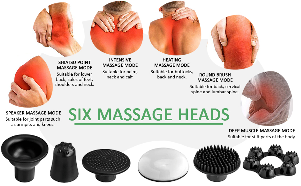 Deep tissue massage gun with different massage heads