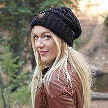 oversized slouchy knit beanie hat
