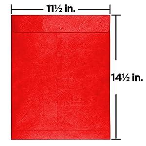 red 11.5 x 14.5 tyvek open end envelope