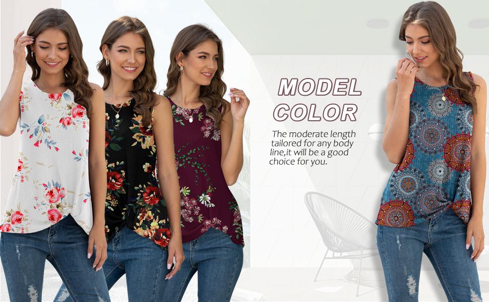 IWOLLENCE Womens Waffle Knit Tunic Casual Blouse Sleeveless Cute Twist Knot Tank Tops
