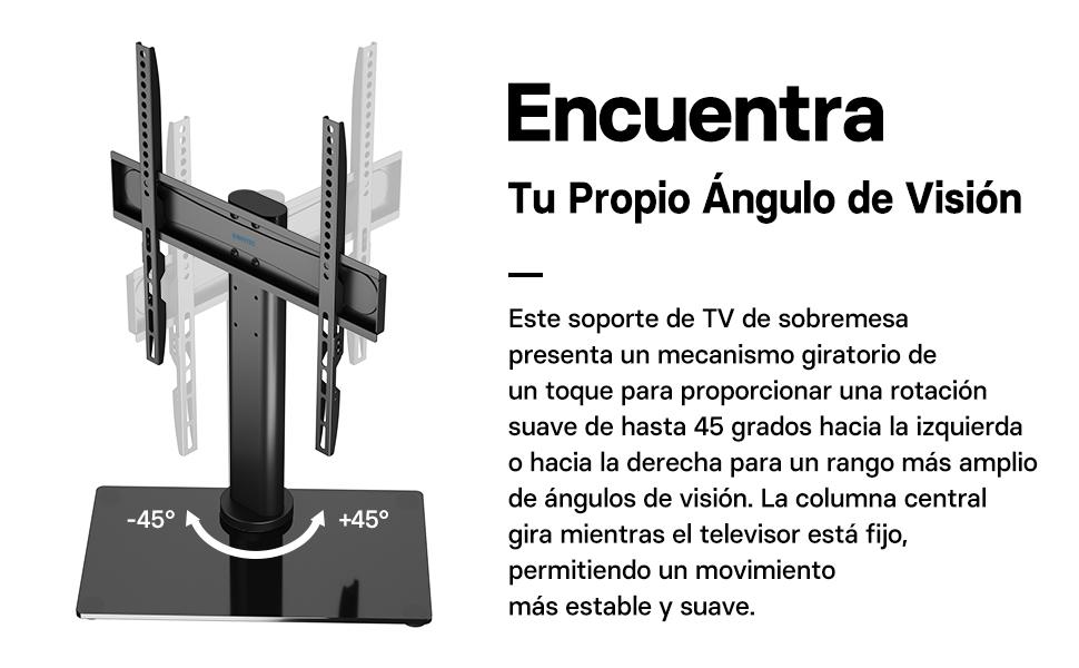 BONTEC Soporte TV Universal Peana TV Soporte Giratoria TV de 26-55 Pulgadas para Pantalla LED/LCD/Plasma/Curva/Plana, con Solo Toque Giratorio y Ajuste de Altura, Carga 40kg: Amazon.es: Electrónica