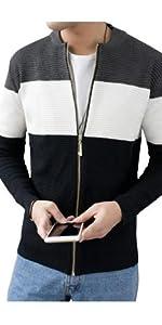 ニット カーディガン メンズ セーター ジップジャケット ジャケット 裏起毛 ボーダー ボア ボアジャケット 防寒服 ハイネック メンズセーター ウールカーディガン ニットセーター セーターメンズ
