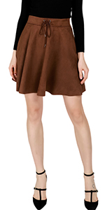 women suede skirt