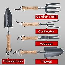 Five wood tools - fork, trowel, transplanter, weeder, cultivator