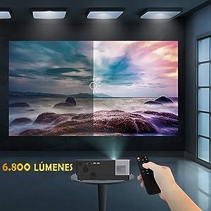 6800 lumenes, lampara led, maxima luminosidad, proyeccion en oficina, patio, exterior, salon