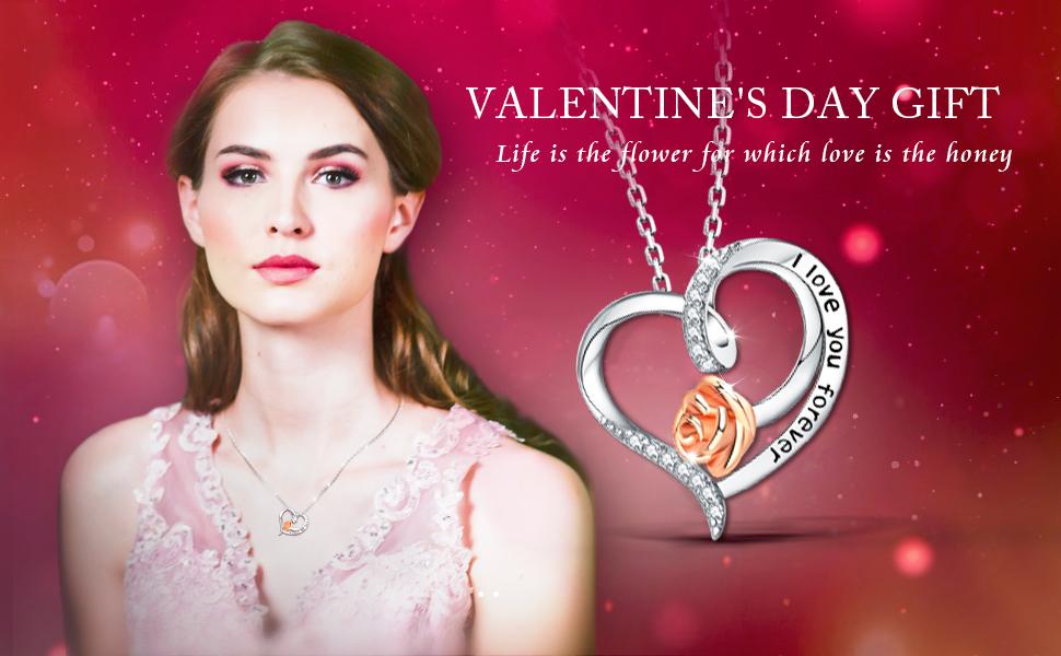 heart rose flower necklace