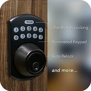 keyless, one tap locking, auto lock, illuminated keypad