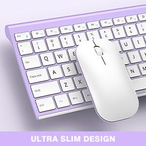 full size ultra slim rechargeable wireless keyboard mouse white purple 12303 (3)