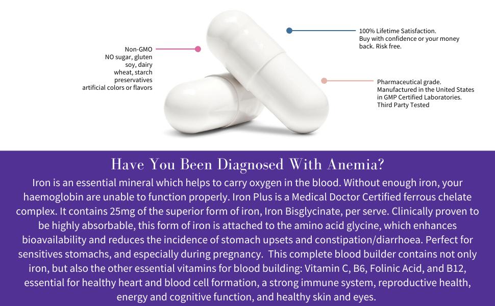 iron with vitamin c, iron pills, iron vitamins, 5-mthf folinic acid capsules chelated blood builder