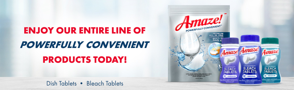 amaze, powerful, convenient, compact, tablets, tabs, dish, washer, bleach, clorox, finish, cascade