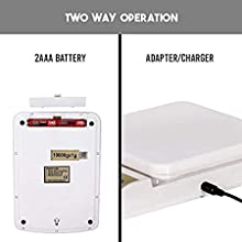 Kitchen scale with dual option battery and adapter