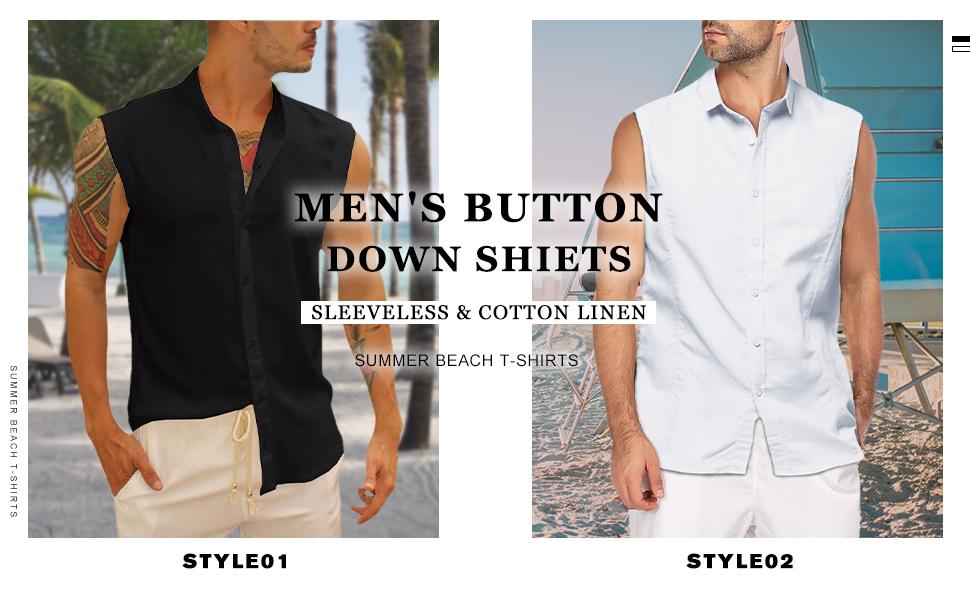 Bbalizko Mens Sleeveless Button Down Shirts Linen Cotton Summer Beach Basic Tank T-Shirt Tops