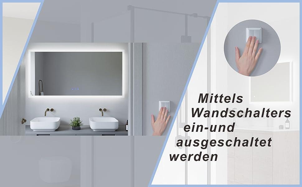 Großer Badspiegel mit LED Beleuchtung 140x70cm ECHOS Typ C