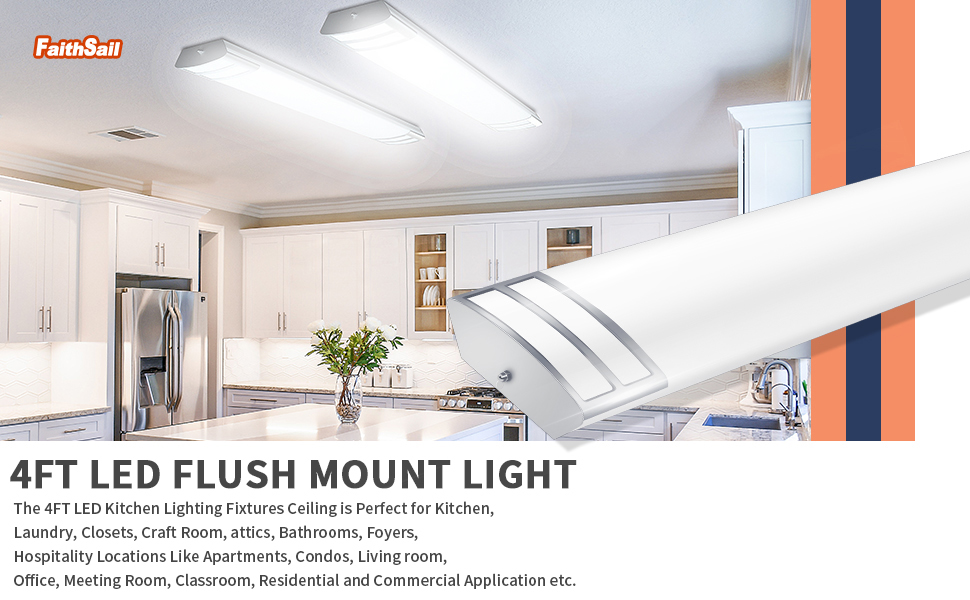 Faithsail 4ft Led Light Fixture 50w 5600lm Flush Mount Linear Lights 4000k 1 10v Dimmable 4 Foot Led Kitchen Lighting Fixtures Ceiling For Craft Room Laundry Fluorescent Replacement 2 Pack Faithsail Lighting Llc