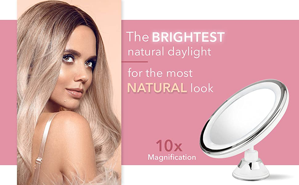 Luna led lighted suction magnifying mirror 10x