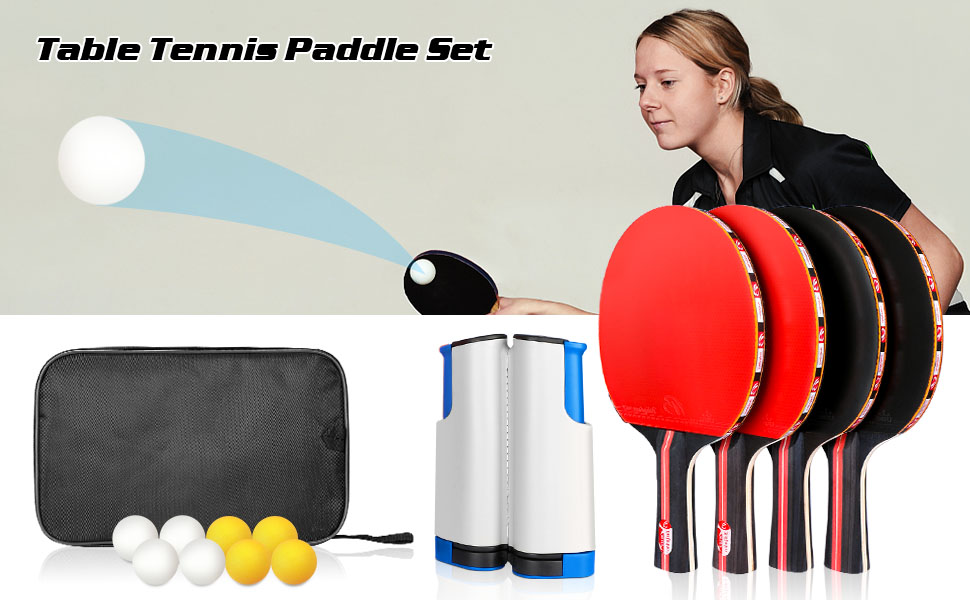 ping pong paddles with balls table tennis rackets set professional ping pong paddle set for indoor
