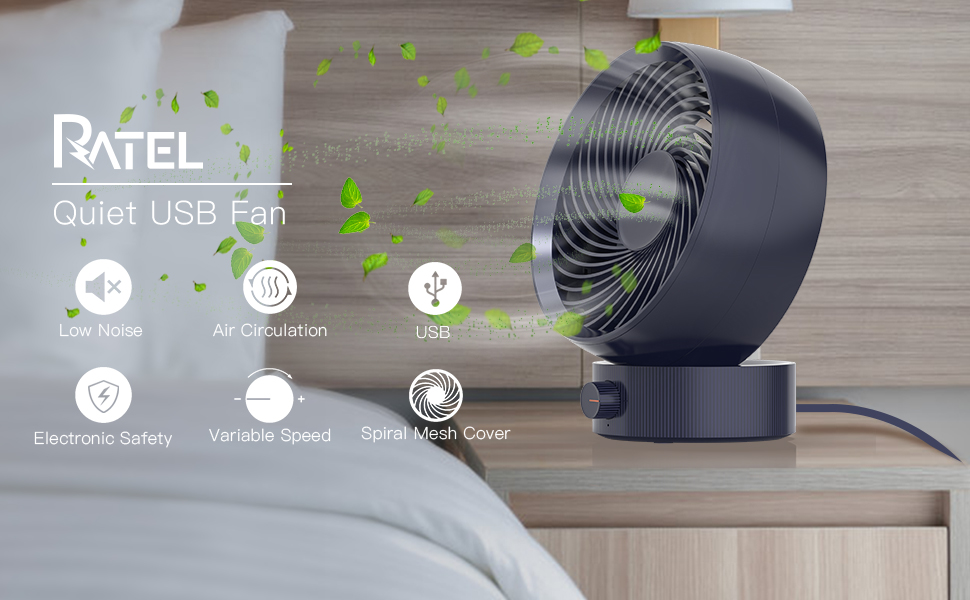 ventilador silencioso USB, RATEL ventilador de Escritorio portátil mini, 180° velocidad variable & Ángulo de ...