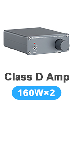 2 Channel Stereo Audio Amplifier Receiver Mini Hi-Fi Class D Integrated Amp for Home Speakers