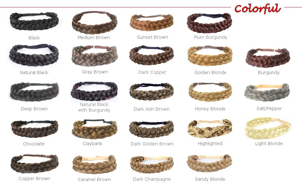 5 strands braided headband color