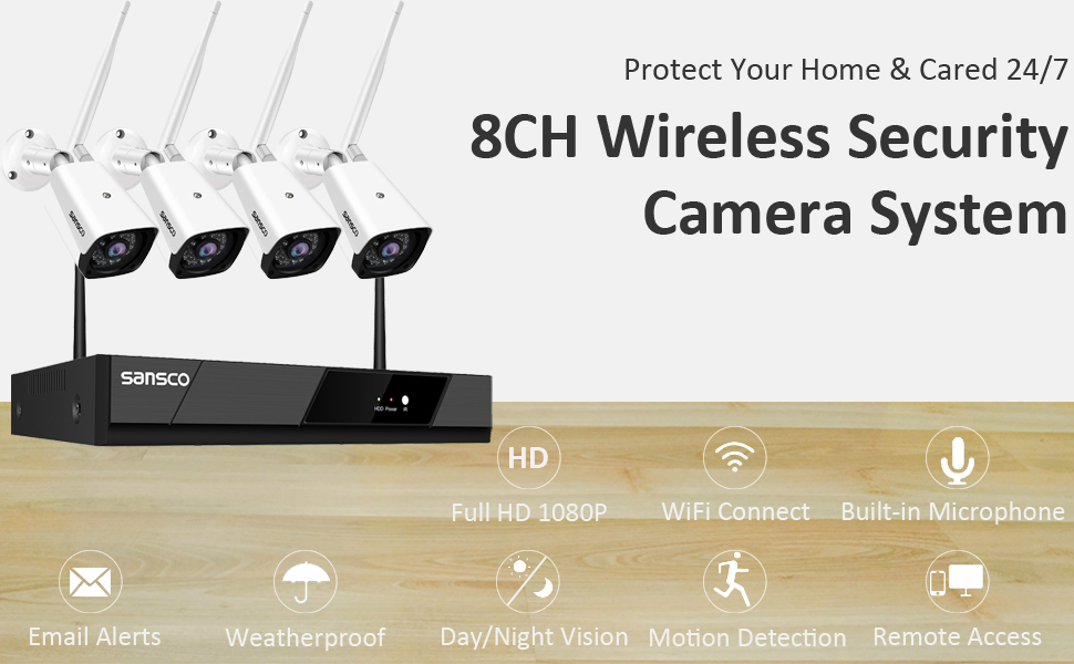 SANSCO 8CH Wireless 1080P Full HD Security Camera System