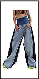 Womens High Waisted Bell Bottom Jean Unique Patchwork Jeans,only 58.99