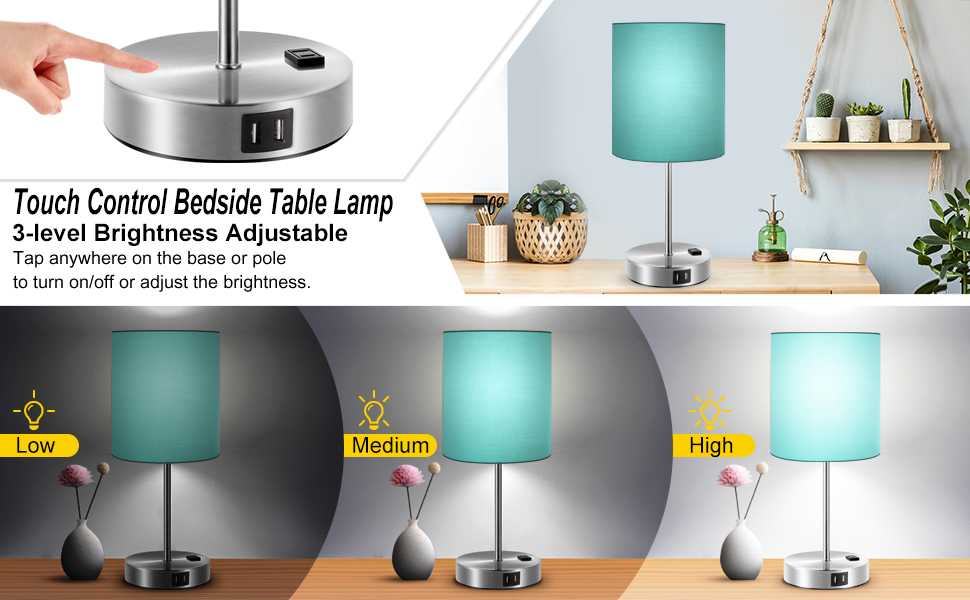 touch table lamp  with usb ports and ac outlet bedside dimmable nightstand lamp with usb port