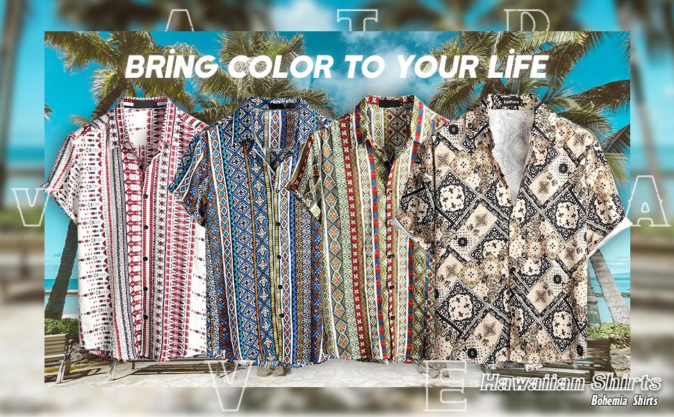 Mens Hawaiian shirts Floral shirts Beach shirt Aloha shirts Summer shirts Colour shirts