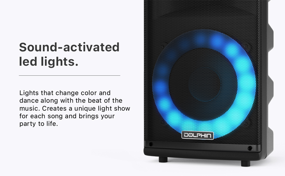 sound activated led lights music Speaker Bluetooth pair system stereo bbq outdoor portable PA lights