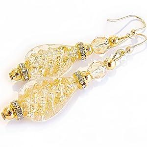 orecchini vetro di murano cristallo oro foglia made in italy