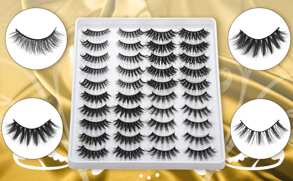 7 Pairs 6D Mink Hair False Eyelashes 25mm Lashes Thick Wispy Fluffy Handmade Eye Makeup Tools Long