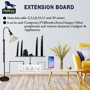 palfrey electric extension board 16a with heavy duty wire cable usb wall mount board 2 meter 20 mt