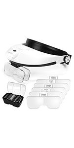 1X to 6X Headband Magnifier with LED Lights