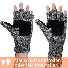 Kingknow Halbfingerlose Handschuhe Daumenloch Kaschmir Winter Warme Handschuhe Strickhandschuhe f/ür M/änner Frauen