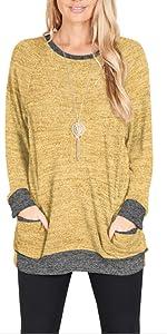 yellow tunic tops for women