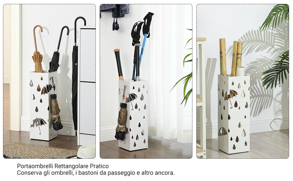 Portaombrelli Secchiello Portaombrelli in Pelle di Alta qualit/à Portaombrelli Autoportante per Porta Dingresso per Lhome Office Nero
