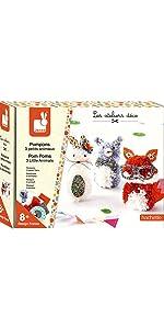 Janod Crafts Pom Poms 3 Little Animals Art Kit